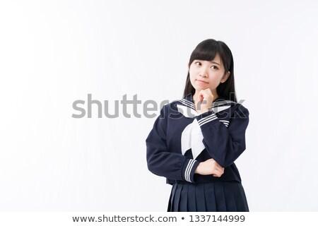 Nő matróz öltöny fehér mosoly divat Stock fotó © Elnur