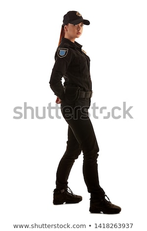 Stok fotoğraf: Redhead Police Officer Isolated On White