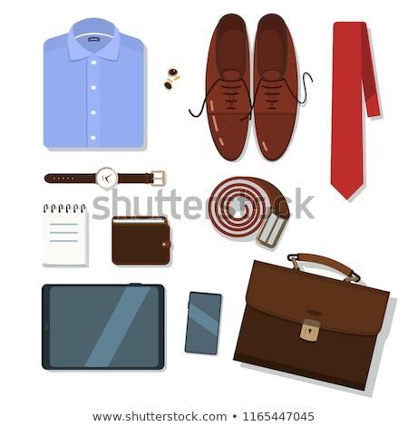 бизнеса галстук портфель телефон белый Сток-фото © CandyboxPhoto