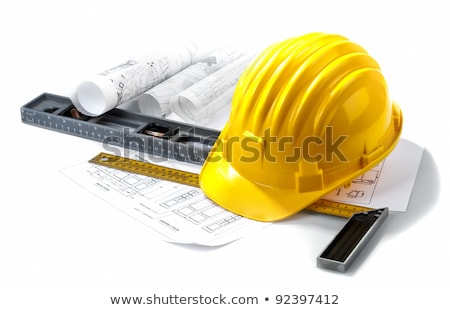 építkezés · tervek · védősisak · szerszámok · papír · terv - stock fotó © designers