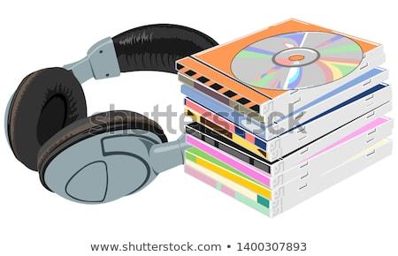 Disco compacto fone de ouvido imagem branco computador soar Foto stock © dezign56