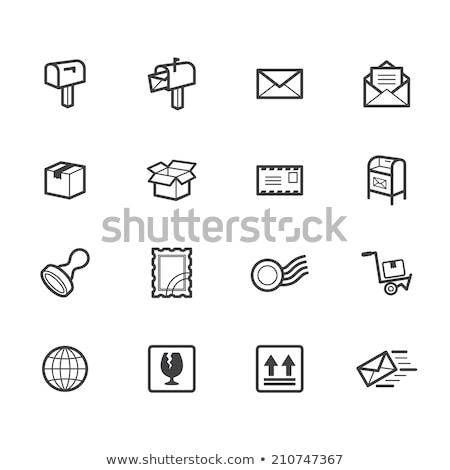 caixa · de · correio · ícone · metal · e-mail · vermelho · comunicação - foto stock © lindwa