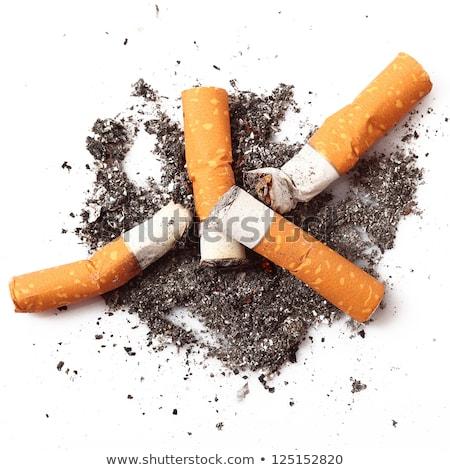 sigara · popo · kül · yalıtılmış · beyaz - stok fotoğraf © ozaiachin