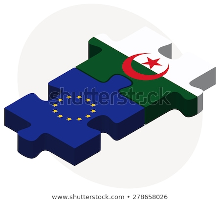 European Union and Algeria Flags in puzzle  isolated on white ba Stock photo © Istanbul2009