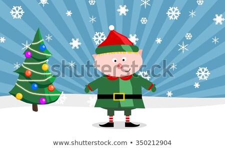 Gnom with a Christmass tree Stock photo © shutswis