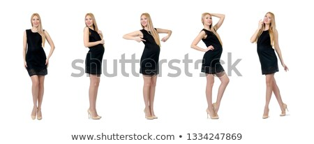 blonde woman in black mini dress stock photo © pawelsierakowski