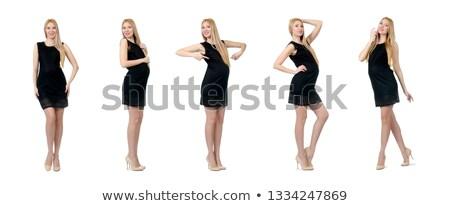 Stock fotó: Szőke · nő · fekete · mini · ruha · gyönyörű · szőke · nő