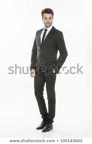Mode jonge zakenman zwart pak donkere model Stockfoto © prg0383