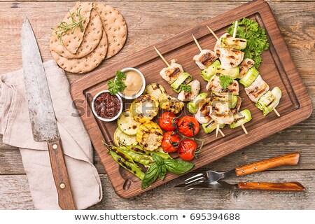 tyúk · kukorica · nyárs · grillcsirke · csemegekukorica · hús - stock fotó © digifoodstock