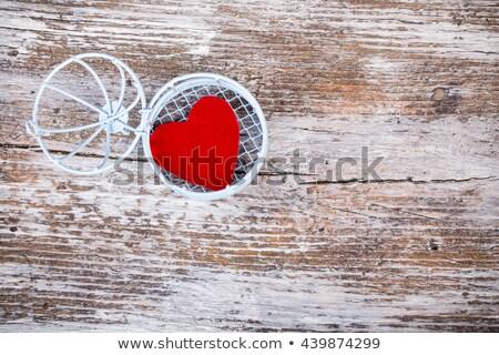 Corazón abierto jaula grunge madera superior Foto stock © viperfzk