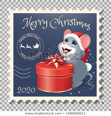китайский зодиак почтовая марка год крыса весны Сток-фото © myfh88