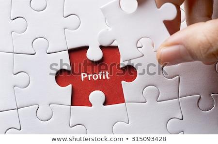 Puzzel woord winst puzzelstukjes business kantoor Stockfoto © fuzzbones0