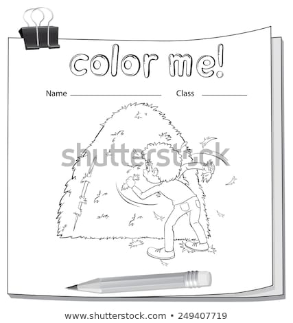 A worksheet showing a boy and a haystack Stock photo © bluering
