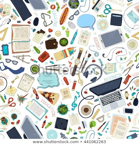 Papelería plumas lápices papel cinta sacapuntas Foto stock © zhekos