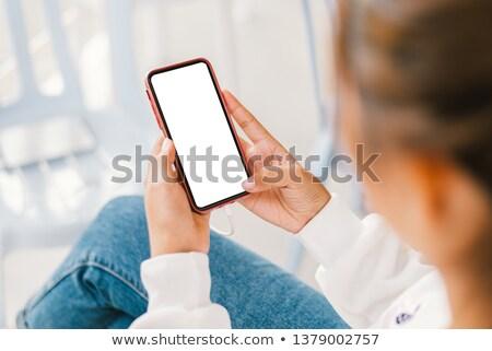 modern · telefon · el · ekran · genç · güzel · bir · kadın - stok fotoğraf © stevanovicigor