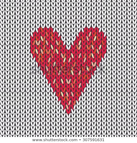 Amazing knitted love heart. Knitting texture. vector illustration Stock photo © carodi