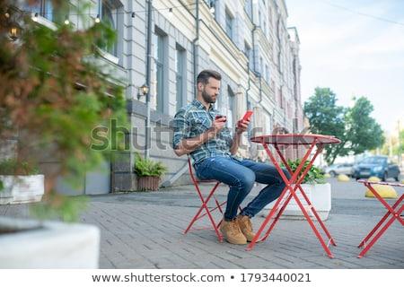 Jóképű férfi borospohár utca kávézó jóképű szakállas Stock fotó © dariazu