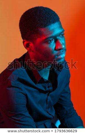 Yakışıklı siyah adam portre genç karanlık arka plan Stok fotoğraf © alexeys