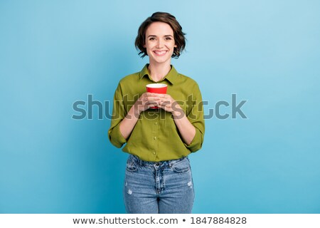 portret · permanente · vrouw · jeans · vrouwen - stockfoto © sapegina