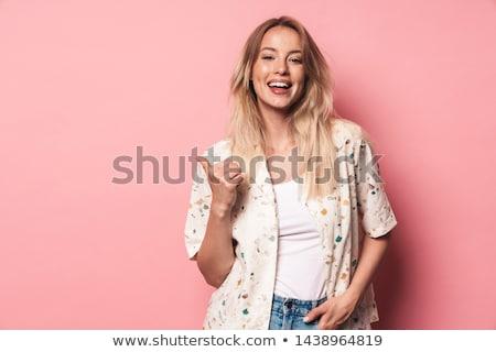 fiatal · szőke · lány · haj · szürke · kezek - stock fotó © konradbak