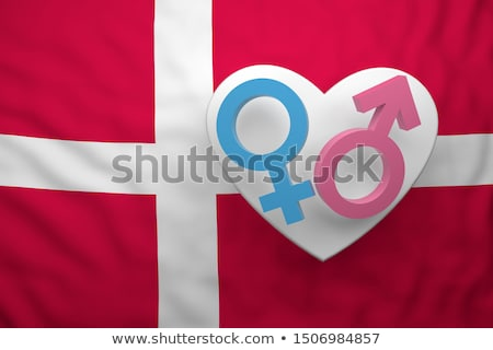 female symbol and flag of denmark - 3d rendering Stock photo © drizzd