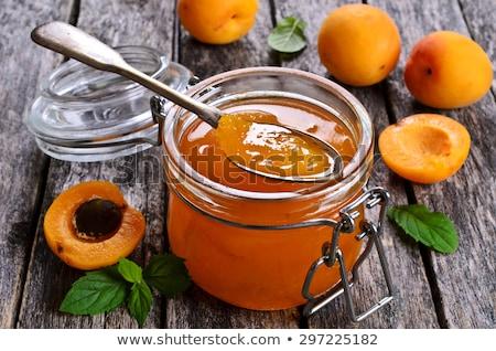 свежие Jam чаши абрикос деревянный стол Сток-фото © Digifoodstock