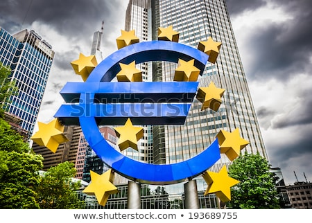Euro symbol in european central bank in Frankfurt Stock photo © JanPietruszka