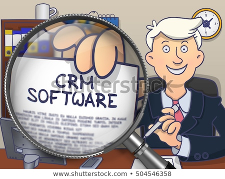 CRM Software through Lens. Doodle Design. Stock photo © tashatuvango