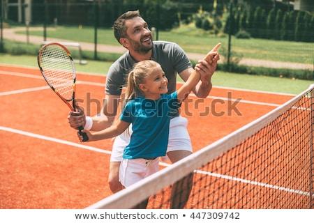 Pai filha quadra de tênis céu homem criança Foto stock © IS2