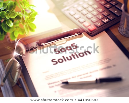Clipboard with Hosting Solutions. 3D. Stock photo © tashatuvango