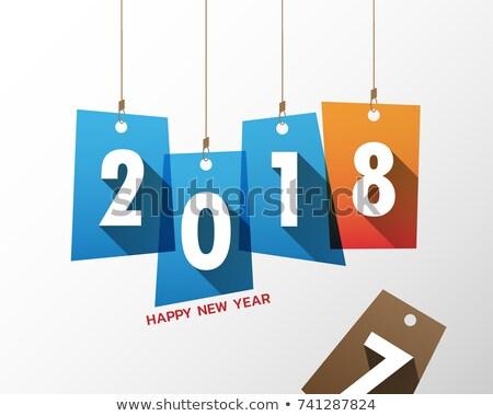 Stockfoto: Vector · gelukkig · nieuwjaar · illustratie · 3D · aantal · vallen