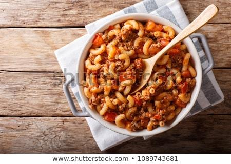 Carne maccheroni piatto cotto cena bianco Foto d'archivio © Digifoodstock