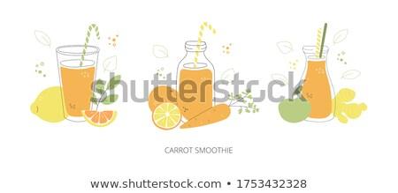 Gözlük portakal suyu çift sağlıklı meyve suyu Stok fotoğraf © mpessaris
