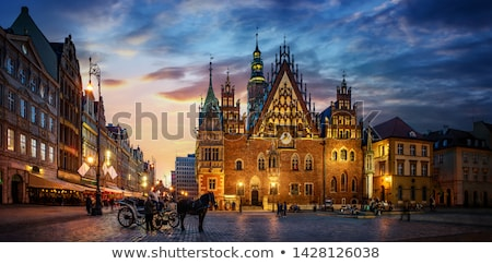 Kathedraal nacht verlagen straat kerk Blauw Stockfoto © benkrut