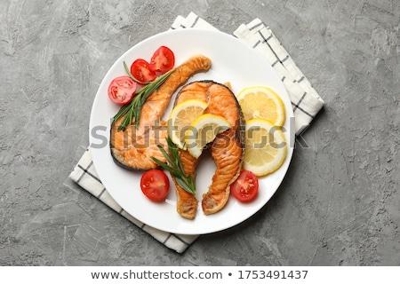 Grelhado salmão espargos comida jantar branco Foto stock © M-studio