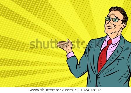 pop art businessman in VR glasses presents Stock photo © studiostoks