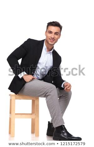 Bello Smart casuale uomo seduta Foto d'archivio © feedough