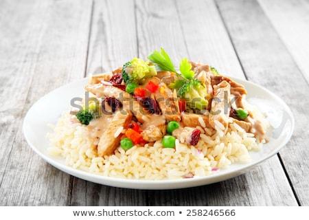 жареная курица белый пластина мяса жареный нефть Сток-фото © georgemuresan