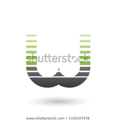 Green and Black Letter W Icon with Horizontal Stripes Vector Ill Stock photo © cidepix