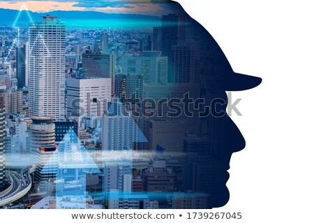 City Silhouette on white background. Business district with skyscrapers Stock photo © Designer_things