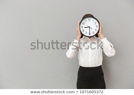 Fotó szórakoztató üzletasszony hivatalos visel arc Stock fotó © deandrobot