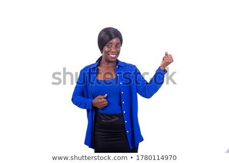 érett üzletasszony ököl szőke nő fehér üzlet Stock fotó © Kzenon