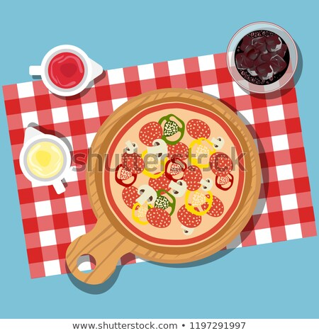 Pizza on table with bottles of ketchup and mayonnaise served with glass of juice with ice. Served di Stock photo © makyzz