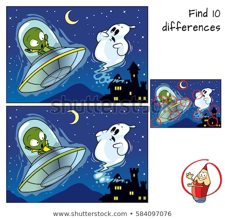 differences game with scary Halloween characters Stock photo © izakowski