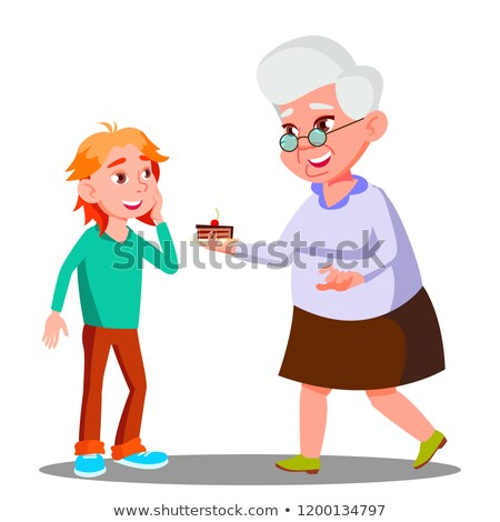 old woman treating little child with cookies vector isolated illustration stock photo © pikepicture