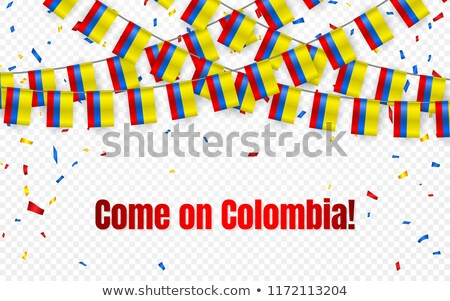 Colombia garland flag with confetti on transparent background, Hang bunting for celebration template Stock photo © olehsvetiukha