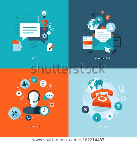 support service concept flat design illustration with icons technical support assistant stock photo © makyzz