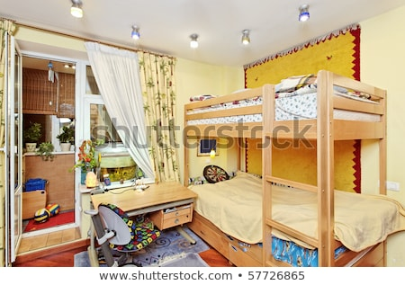 childrens room childrens furniture bunk bed table and chair stock photo © arkadivna