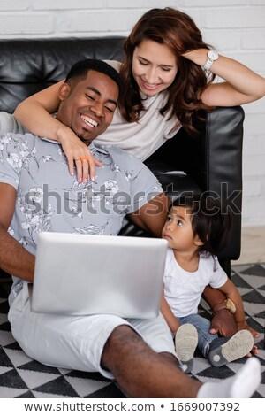 ストックフォト: 肖像 · 面白い · アフリカ系アメリカ人 · 男 · 座って · 階