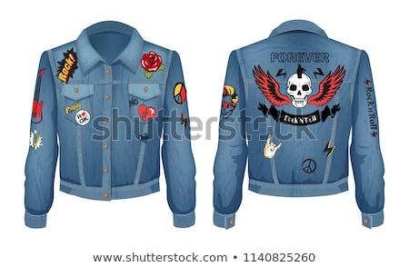 Para sempre jaqueta rosas flores guitarra elétrica jeans Foto stock © robuart
